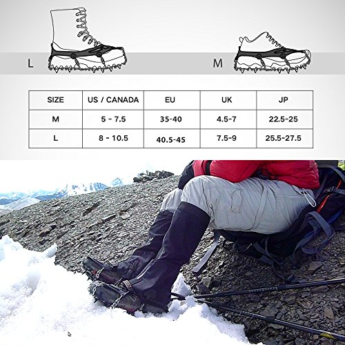 Terra Hiker Ice Cleats, Snow Crampons with 18 Teeth and Stainless Steel Anti Slip Traction Cleats for Walking, Hiking, Camping