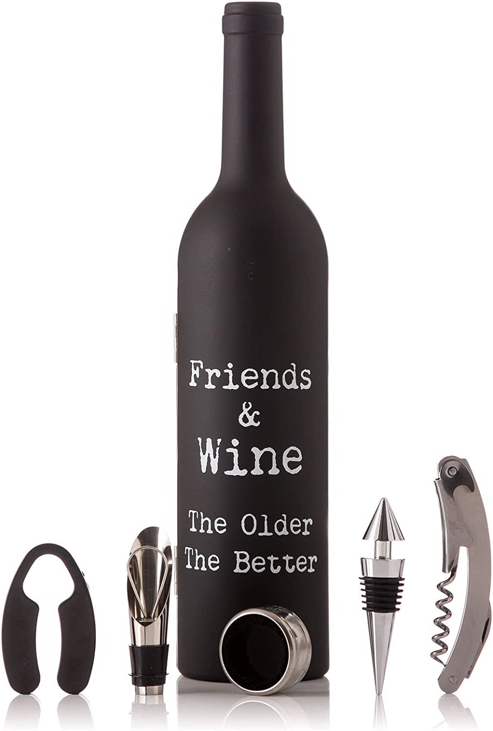 Bottle Shaped Wine Gift Set with Bottle Stopper, Corkscrew, aerator & cuff - Friends & Wine The older the better