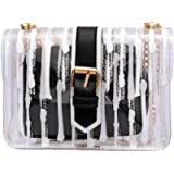 Clear Crossbody Bags for Women, Striped Jelly Bag Chian Crossbody Purse and Handbags Leather Shoulder Bags Satchel Purse
