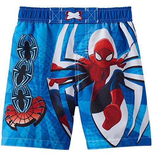 [Spider-Man Boys Swim Trunks Swimwear (4T, Spider-Man Blue)] (Blue Spiderman Suit)