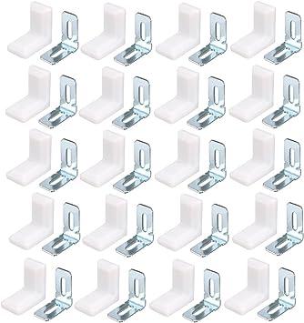 Shelf 90 Degree Angle Brackets Corner Braces Supports White Silver Tone 20 Sets
