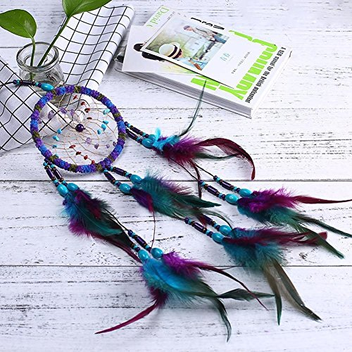 Qingsm Handmade Beautiful Colorful Wool Natural Feathers Dream Catcher Wall Hanging Home Decor