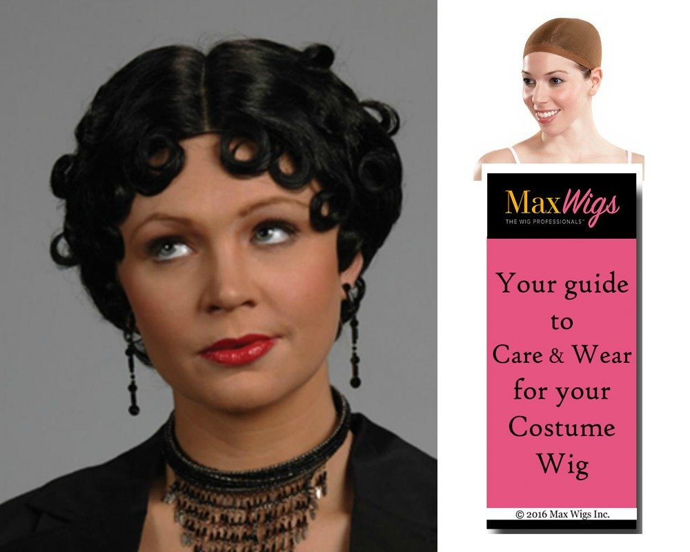 Cheap Betty Boop Flapper color Black - Enigma Wigs Short Curly Fingerwave Cartoon 1920s Wavy Bundle w/Cap, MaxWigs Costume Wig Care Guide free shipping