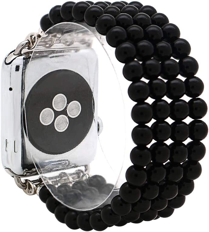 KAI Top Fashion Watch Band Compatible with Apple Watch 38mm 40mm 42mm 44mm for Women Girls,Natural Black Agate Beaded Elastic Band Replacement Stretch Strap Compatible for iWatch Series 5 4 3 2 1