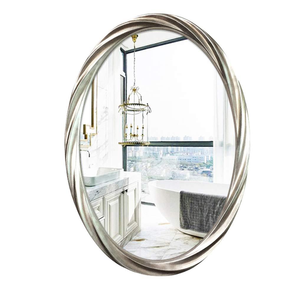SXLL鏡 シンプルな楕円形の芸術のバスルームミラー防水防湿壁飾りミラー (色 : シルバー しるば゜, サイズ さいず : 76cmx53cm) B07L2QHQBX シルバー しるば゜ 76cmx53cm