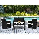 cloud mountain 4 pc pe rattan patio furniture set wicker outdoor backyard garden lawn sofa cushioned seat chat set black black outdoor furniture