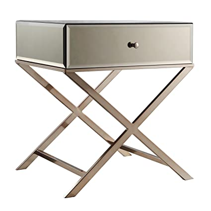 ModHaus Living Contemporary Glass Mirror Accent Nightstand End Table With 1 Drawer And X Metal Legs