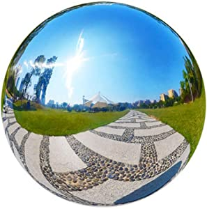 HomDSim 35cm/14inch Diameter Gazing Globe Mirror Ball,Thickness 0.5mm Silver Stainless Steel Polished Reflective Smooth Garden Sphere,Colorful and Shiny Addition to Any Garden or Home