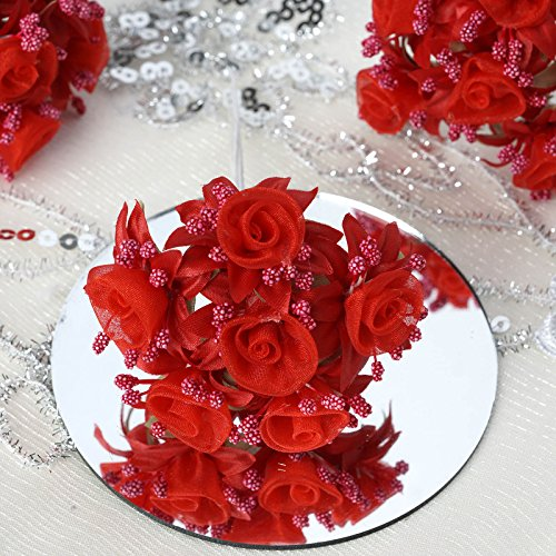 BalsaCircle 72 Red Organza Craft Roses - Mini Flowers for DIY Wedding Birthday Party Favors Decorations Supplies - Flower Rose Organza Wedding