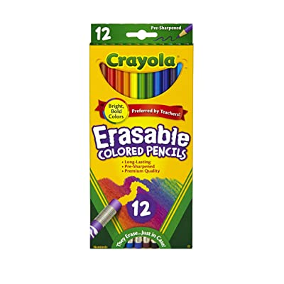 Crayola Erasable Colored Pencils, 12 Non-Toxic, Pre-Sharpened, Fully Erasable Pencils Colored Pencil Set for Adult Coloring Books or Kids 4 & Up, Great for Shading, Gradation, Line Art & More: Toys & Games