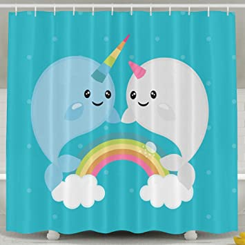 Amazon.com: LingRain Rainbow Narwhals Shower Curtain For Washhouse ...