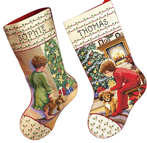 Janlynn Christmas Stockings Counted Cross Stitch, 2 Kits: Waiting For Santa and Christmas (Janlynn Christmas Cross Stitch)