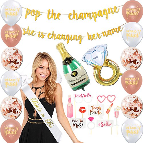 Bachelorette Party Decorations Kit   Bridal Shower Supplies - Bride to Be Sash + Veil, Ring foil balloon, Champagne bottle foil balloon, 2 Gold banners, Photo booth props kit, 12 latex balloons set