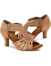 YYTing Zapatos de Baile de Salón Mujeres Salsa Latina Bailarina Zapatos de Baile 6 cm Tacones