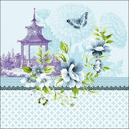 3-ply Pagode Blue Pack of 4 Individual Napkins 33 x 33cm 4 Paper Napkins for Decoupage