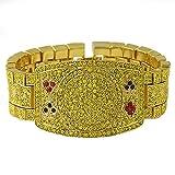 Hip-Hop Bling Poker Texas Hold em Fan Championship Style Bracelet Gold Canary