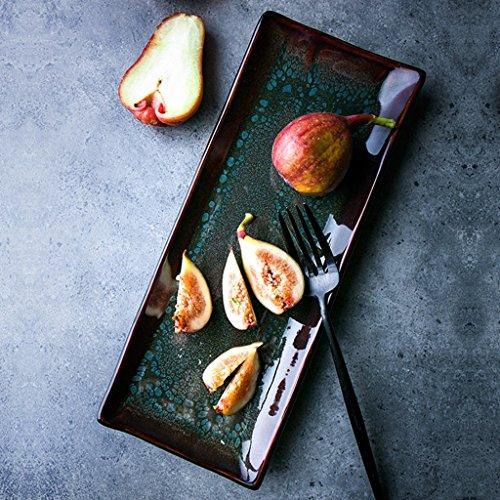 He Xiang Ya Shop Sushi plate fruit plate ceramic gradient strips plate dessert plate dessert plate Household plate by He Xiang Ya Shop
