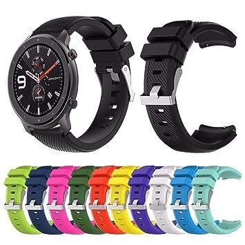 Yushiwu Correa de Muñeca de Silicona Suave para Huami Amazfit GTR 47mm Banda de Reloj de Repuesto Pulsera de Reemplaza Ajustable