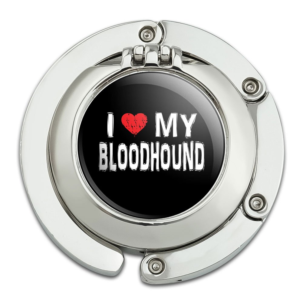 I Love My Bloodhound Stylish Foldable Table Bag Purse Caddy Handbag Hanger Holder Hook with Folding Compact Mirror