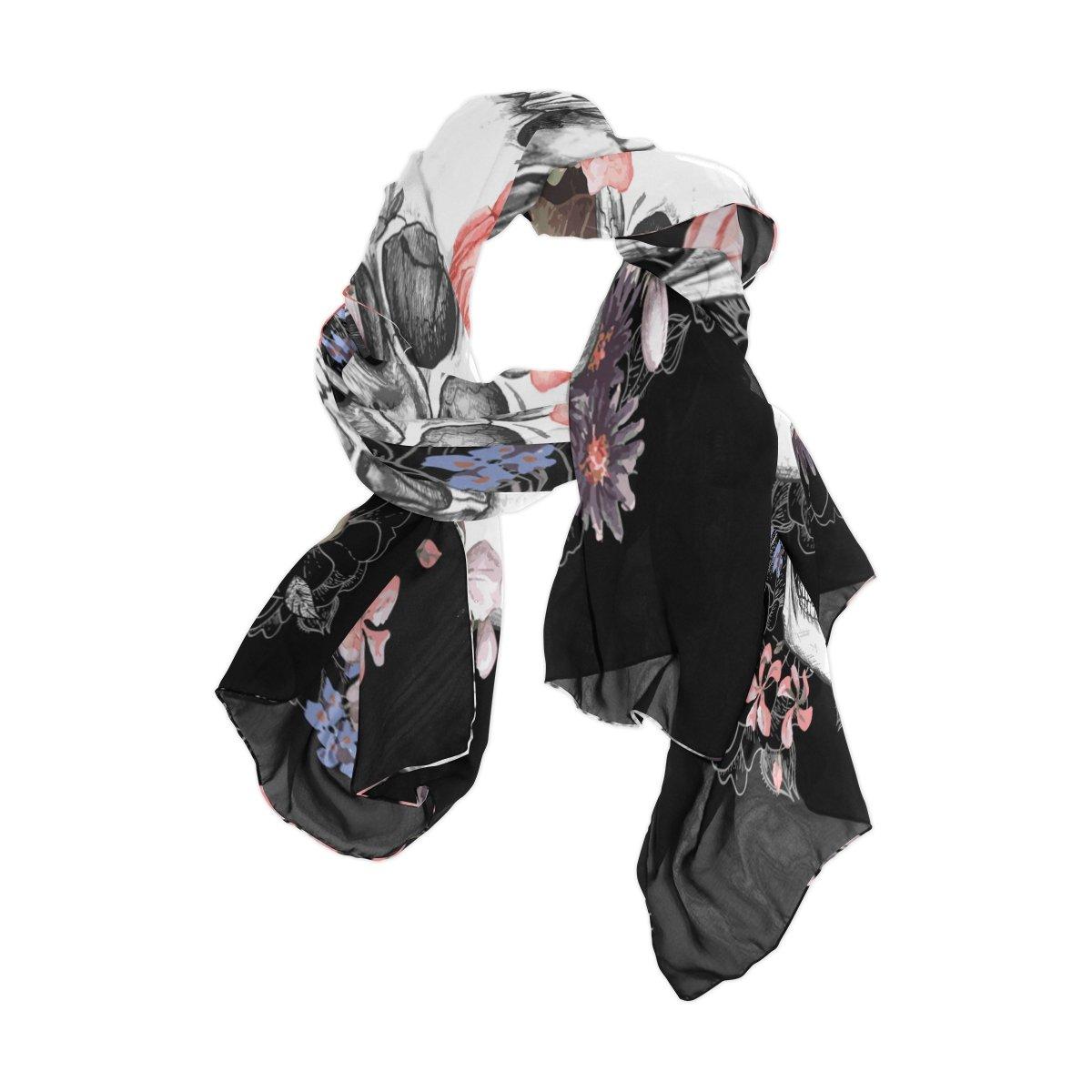 Use4 Fashion Sugar Skull Floral Chiffon Long Scarf Shawl Wrap g1450874p110c124s164