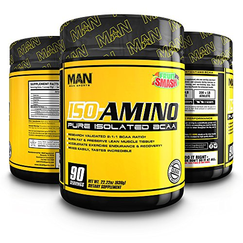 MAN Sports ISO-AMINO BCAA Amino Acid Powder, Fruit Smash, 90 Servings, 630 Grams