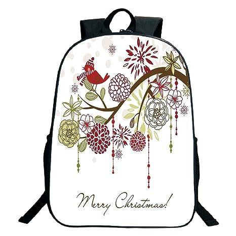0a8f7a85436f Amazon.com: 3D Print Design Black School Bag,backpacksChristmas ...