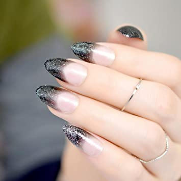 Amazon.com : CoolNail Gradient Black French False Stiletto Nails Silver Glitter Clear Black Pointed Fake Nails Sharp End Full Cover Wear Nail Tips : Beauty