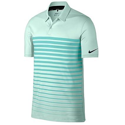 6d7ce9cba NIKE Dry Fit Heather Stripe OLC Golf Polo 2017 Igloo Light Aqua Black Small