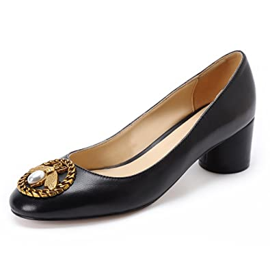 57a309c2fb Darco & Gianni Women's Round Closed Toe Chunky Block Mid Heel Pump Bee  Buckle Black Patent