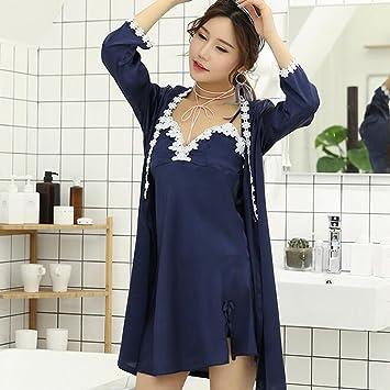 Boxer Briefs Women 2 Pieces Sleepwear Long Satin Dressing Gown Kimono Robe  Bathrobe with Strap Nightdress cb42a0af3