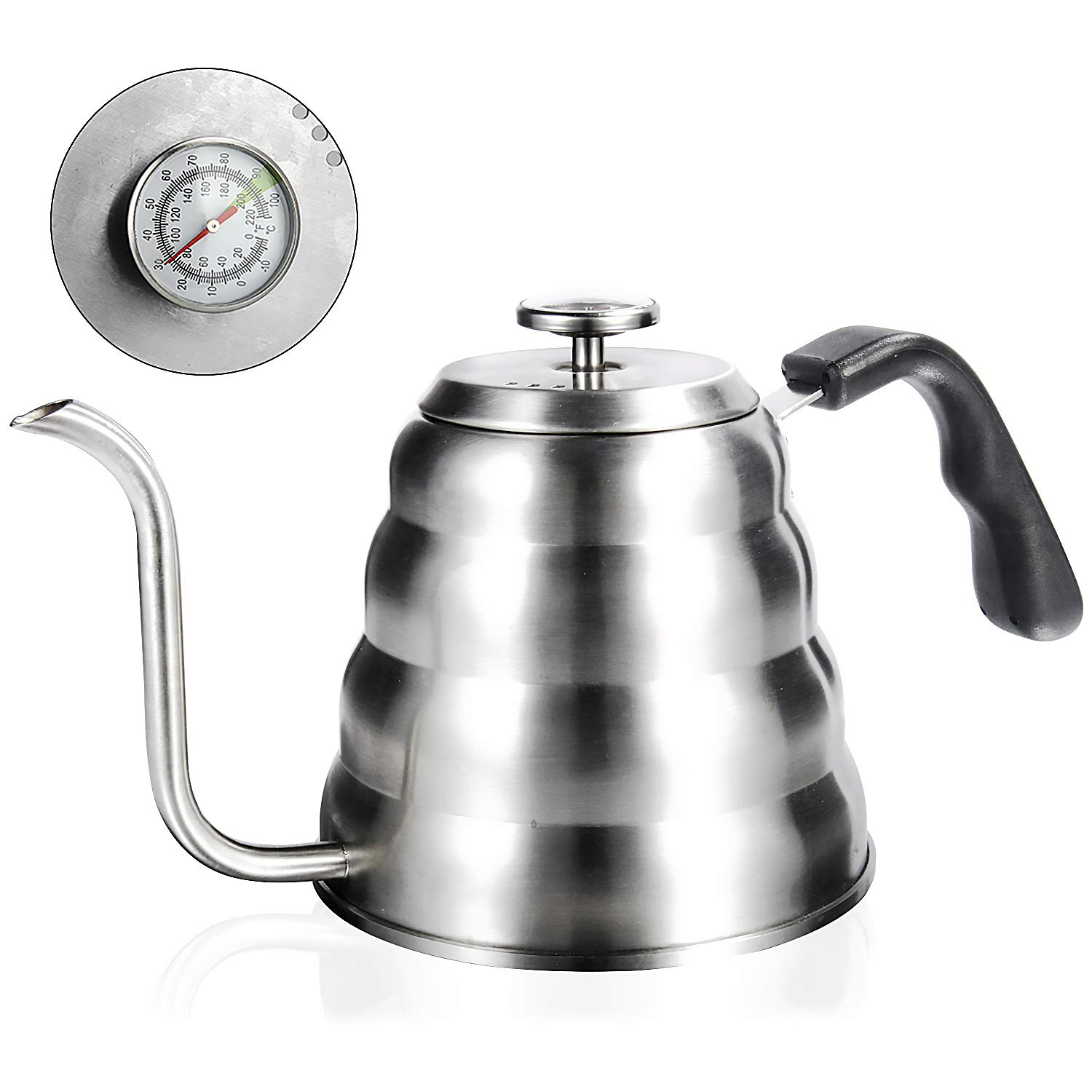 Pour Over Kettle, OAMCEG 40fl oz/1.2L Stainless Steel Gooseneck Pour Over Coffee Kettle with Thermometer for Exact Temperature - Insulated BPA Free Plastic Ergonomic Handle by OAMCEG