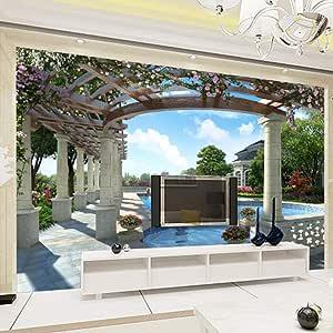 Fotomurales Balcón con vista a la piscina 250x175 cm Papel pintado ...