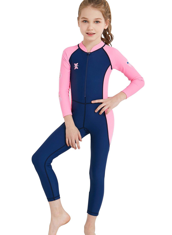 DIVE& SAIL One Piece Muta da Sub Asciugatura Rapida Protezione Solare Wetsuit Manica Lunga Ultra Stretch da Bambina Bambino per Surf Diving Snorkeling Nuotare Sport Acquatici