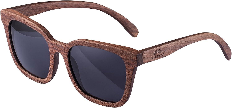 Amexi Holz Sonnenbrillen Polarisierte Sonnenbrille Schwarze Walnuss TAC Objektiv UV400 Sonnenbrillez/Der Rahmen der Brille ist aus Walnuss Holz/professionelle Sonnenbrille Herren (Grau)