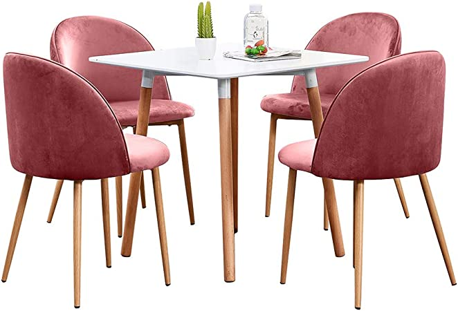 Huisen Furniture Modern Dining Table And Chairs Set Of 4 For Kitchen Small Dinette 5 Pieces White Square Dining Room Table And 4 Pink Velvet Chairs For Office Waiting Tea Room Amazon Co Uk