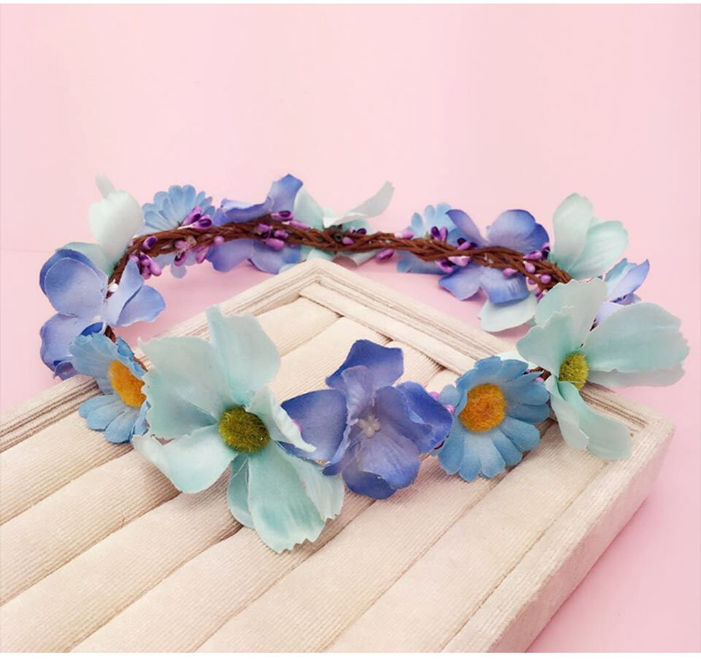 Wreath Flower, Headband Flower Garland Handmade Wedding Bride Party Ribbon Headband Wristband Hairband Purple/White (Color : D)