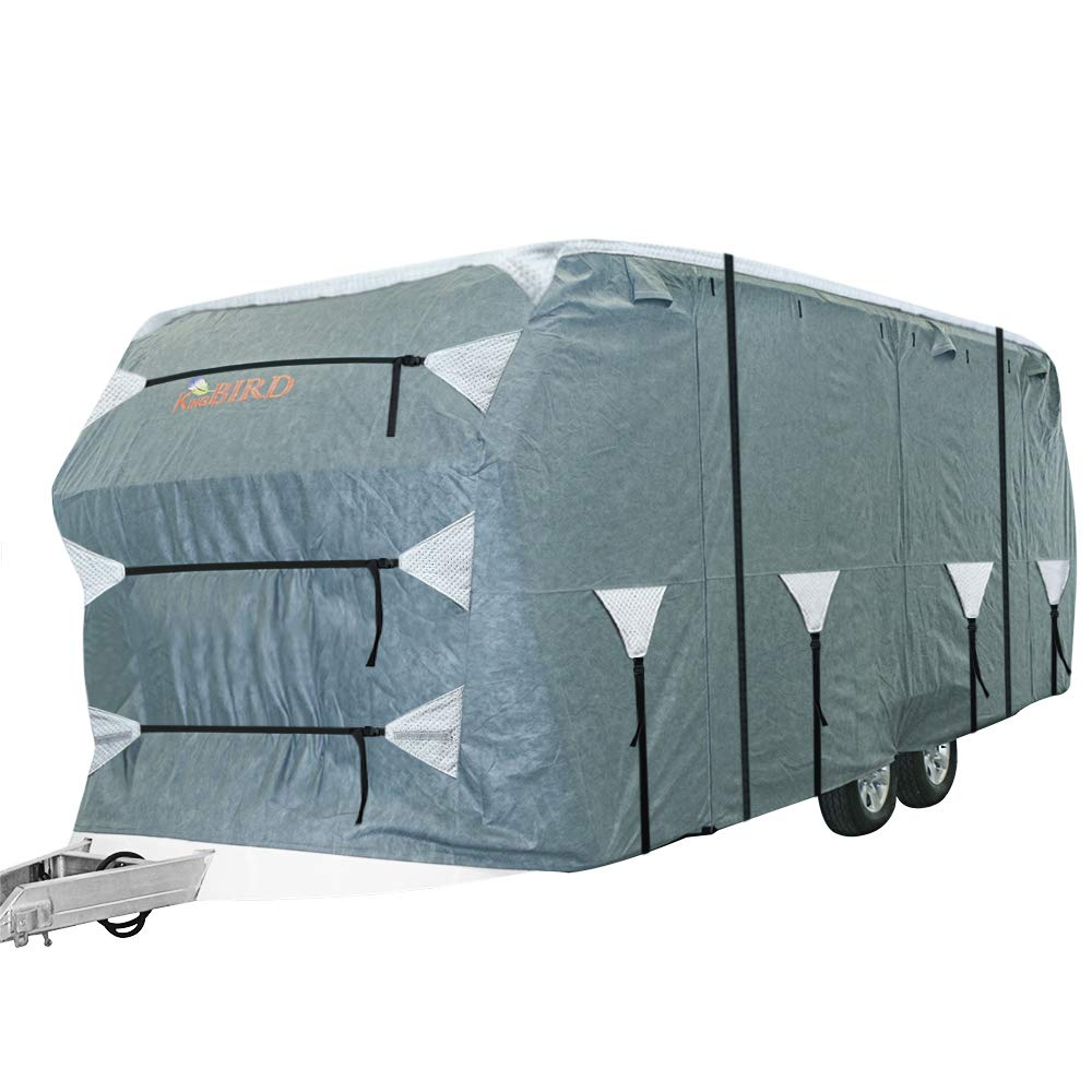 Fits 22-24 RV Cover -Breathable KING BIRD Upgraded Travel Trailer RV Cover Deluxe Camper Cover Rip-Stop with 2Pcs Straps /& 4 Tire Covers Water-Repellent Extra-Thick 4 Layers Anti-UV Top Panel