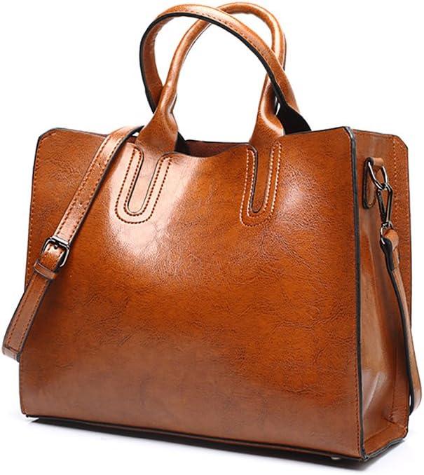 VECHOO Fashion Leather-Synthetic Handbag Ladies Handbags Elegant Top-Handle Bag Girls Satchel Vintage Shoulder Bag with Shoulder Strap