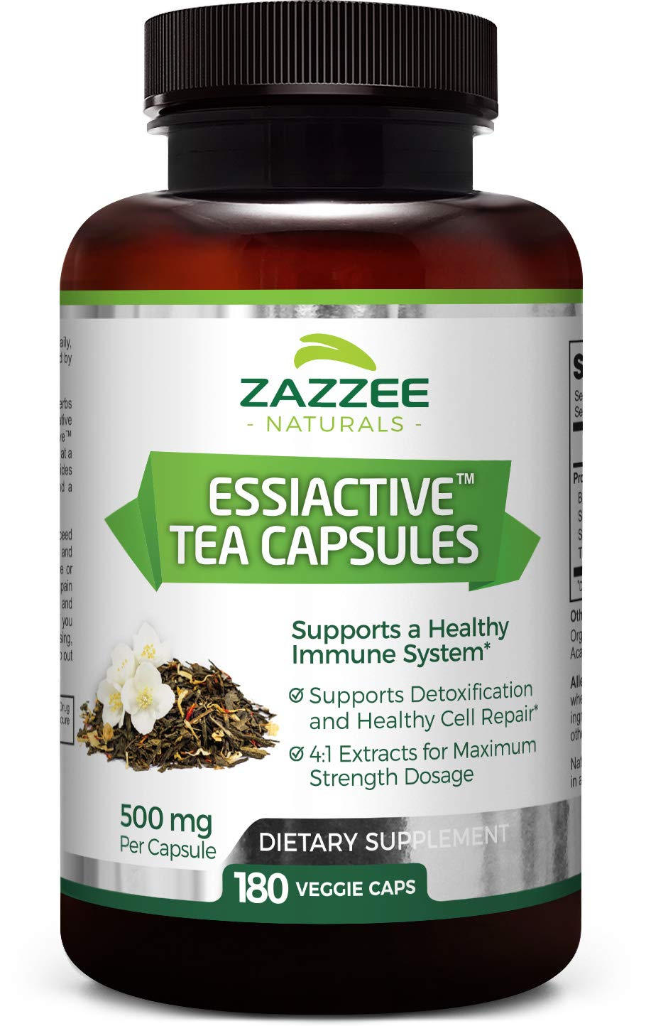 Essiac Tea 180 Veggie Capsules 500 mg | 4X Concentrated Extract is The Strongest Essiac Supplement Available | Non-GMO, Vegan and All-Natural | Supports a Healthy Immune System | Made in USA