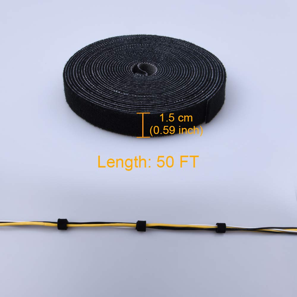 50ft Roll Self-Attaching Hook and Loop Reusable Cable Tie Fastening Tape Blue