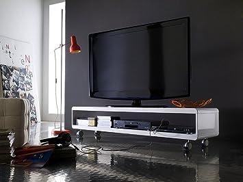 Design TV-Board Lowboard STEREO weiss Hochglanz Fernsehtisch auf ...