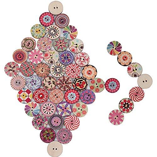 (Dia:2cm)200 (±5)pcs Boutons Bois Rond Coloré Assortis Colorés avec 2 Trous Pour Mercerie Couture Arinasat Album et Scrapbooking