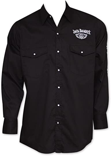 Jack Daniel/'s Whiskey Long Sleeve Button-Up Dress Shirt Black