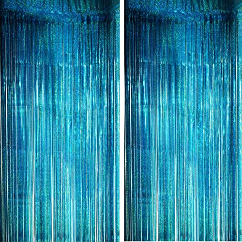 Blue Tinsel Foil Fringe Curtains - Under The