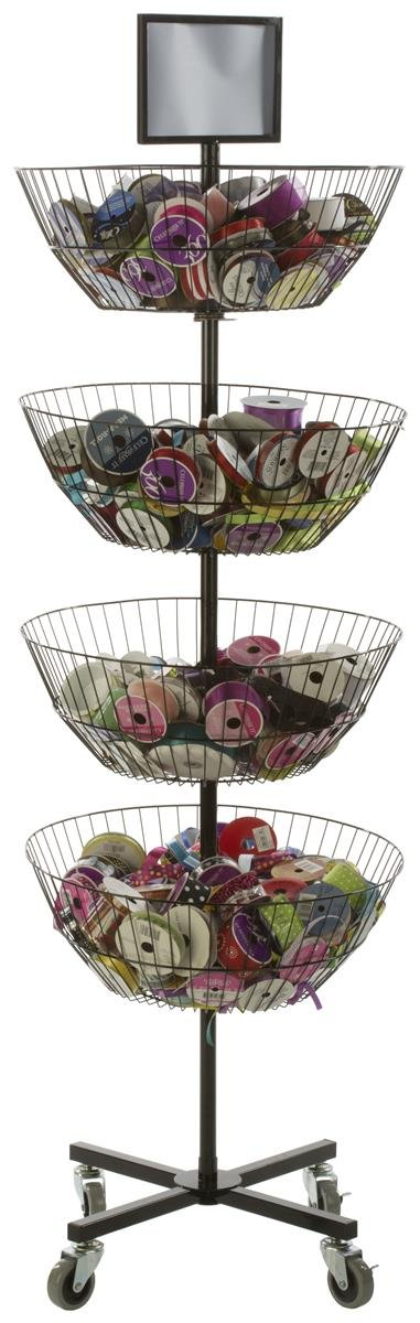 Displays2go Free Standing Basket Shelves 4 Tiers Rotate Individually Top Sign Holder, Locking Wheels
