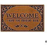 """MsMr Doormat Funny Entrance Floor Mat Welcome I Hope You Brought Beer Indoor Decorative Doormat Floor Mat Non-woven Fabric Top 23.5""""x15.7"""""""