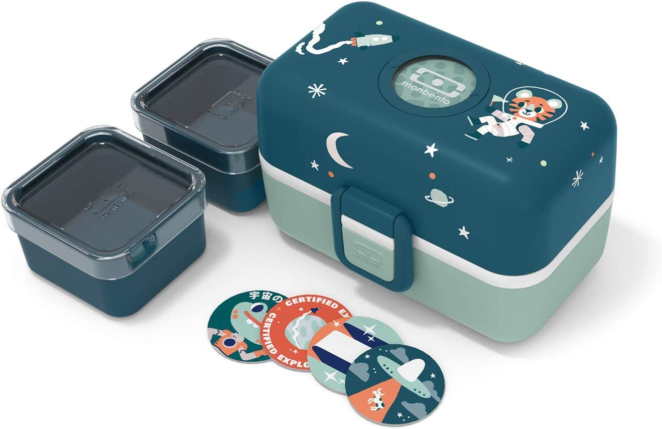 monbento - MB Tresor graphic blue Cosmic - Space and Tiger lunch box for Kids - 3 compartment for school lunch and snack packing - BPA free & Food grade safe food containers