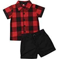 Toddler Baby Boys Summer Outfits Set Gentleman Button-Down Short Sleeve Shirt Blouse Tops + Solid Shorts Pants
