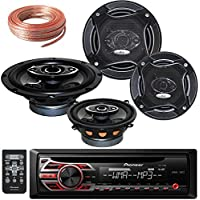 Package Bundle - Pioneer DEH-150MP Single DIN MP3 Car Stereo With Pair of K65.4 6.5-Inchs 6-1/2 400W 4-Way + Pair Of K-55.3S 5.25-INCHS 5-1/4 280W 3-Way / 4 Speakers + 100Ft Cable