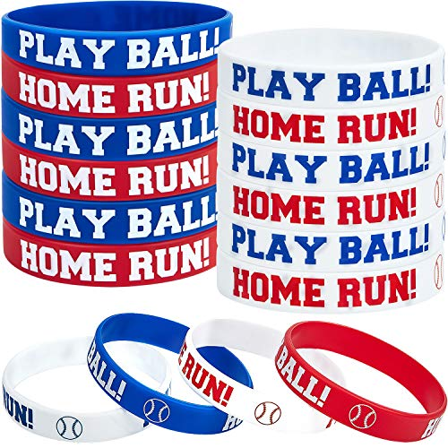 Baseball Party Favors (Baseball Silicone Rubber Bracelets Boy Rubber Wristbands Baseball Bracelet Wristbands for School Gifts Party Favors)